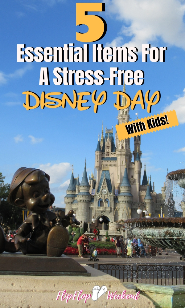 There are five items that you should have on your packing list for a stress-free Disney Day with kids! They are my Disney essentials, and will help your stay at Walt Disney World stay magical. #flipflopweekend #disneytips