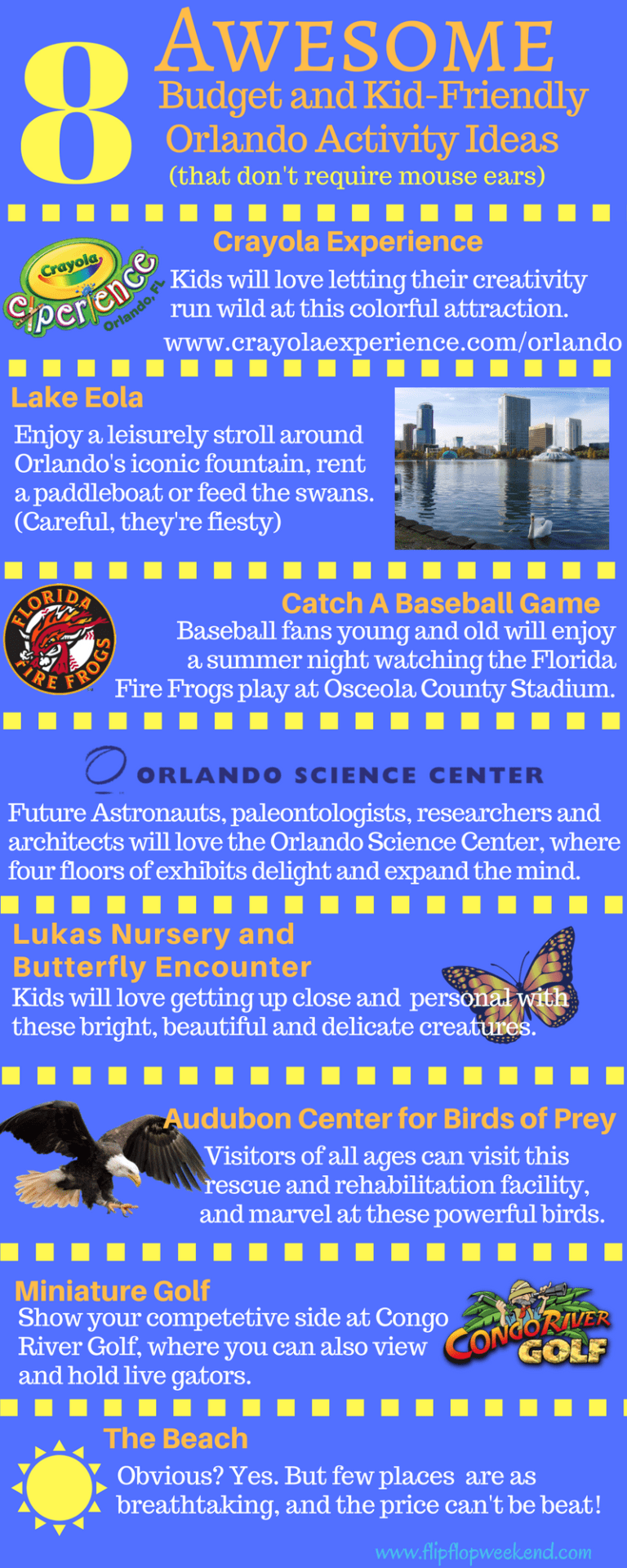 "Check out these 8 affordable, family-friendly activities in Orlando. Some may be obvious, while others are a little unique and ""fly under the radar."""