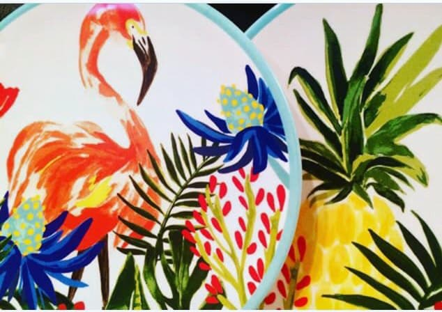These tropical themed plates rock my socks off! They are bargains at Target, and Dishwasher safe!