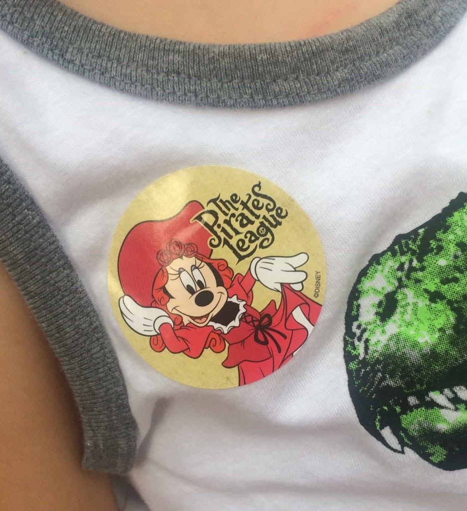 Pirates Stickers are handed out at Walt Disney World's Pirates of the Caribbean ride. Great free souvenir!