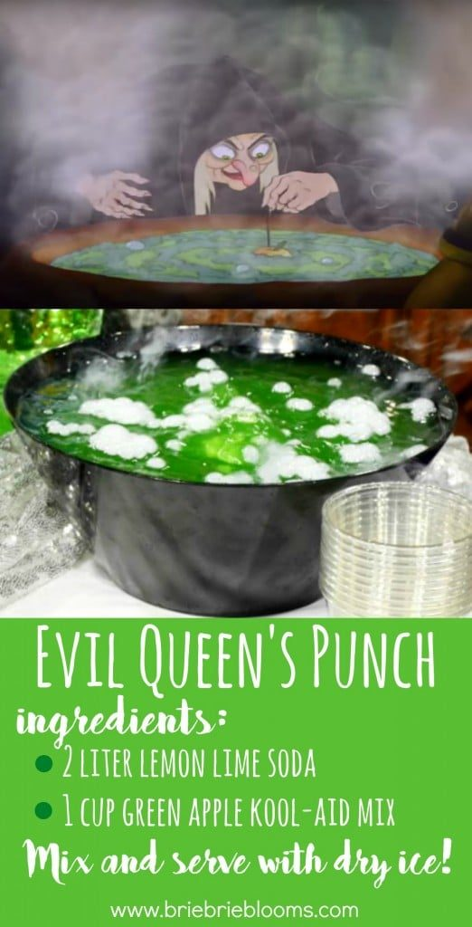 Lemon-lime soda and green apple kool-aid mix together to become the potion that created Snow White's poisonous apple. The perfect Halloween punch!