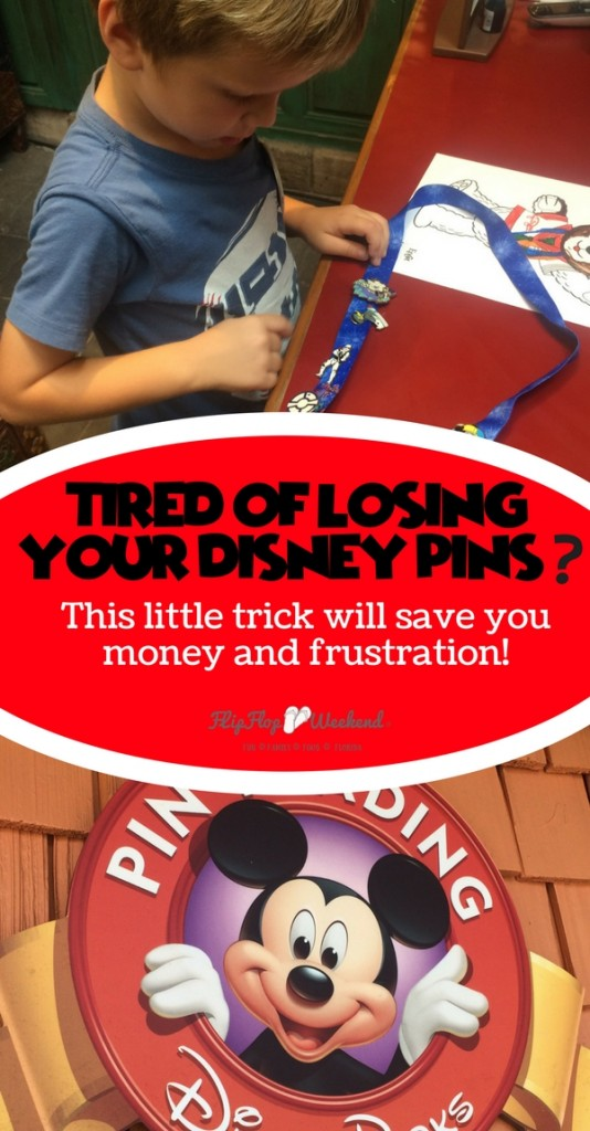 If you are into pin trading at Disney, but hate losing your pins off the lanyard, this post explains the simple solution I found to keep the pins secure on your lanyard while wandering Walt Disney World. #Disney #Disneypintrading