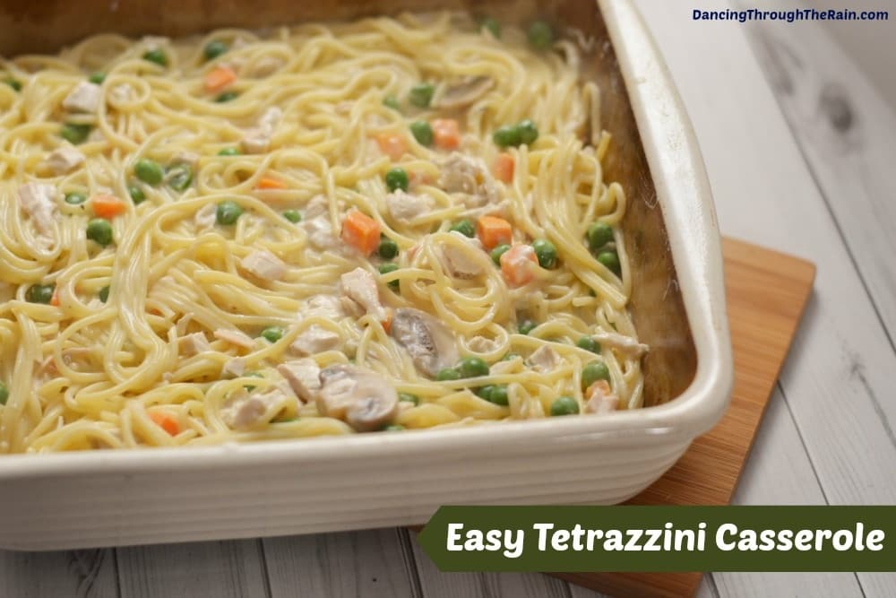 This super simple tetrazzini casserole is a great way to use leftover chicken and turkey