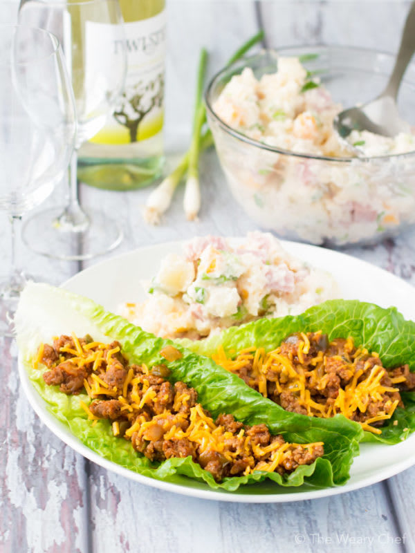 Andi from WearyChef.com takes leftover turkey a new direction with these delicious BBQ Turkey Lettuce Wraps