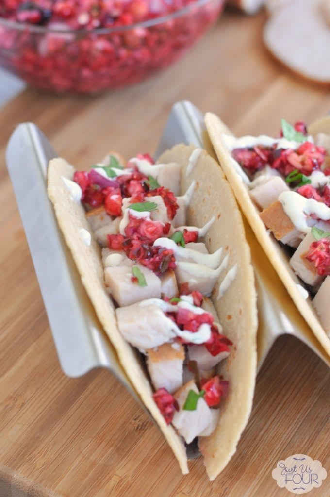 These Turkey Tacos with Cranberry Salsa may make me just want to skip Thursday and go straight to Taco Tuesday