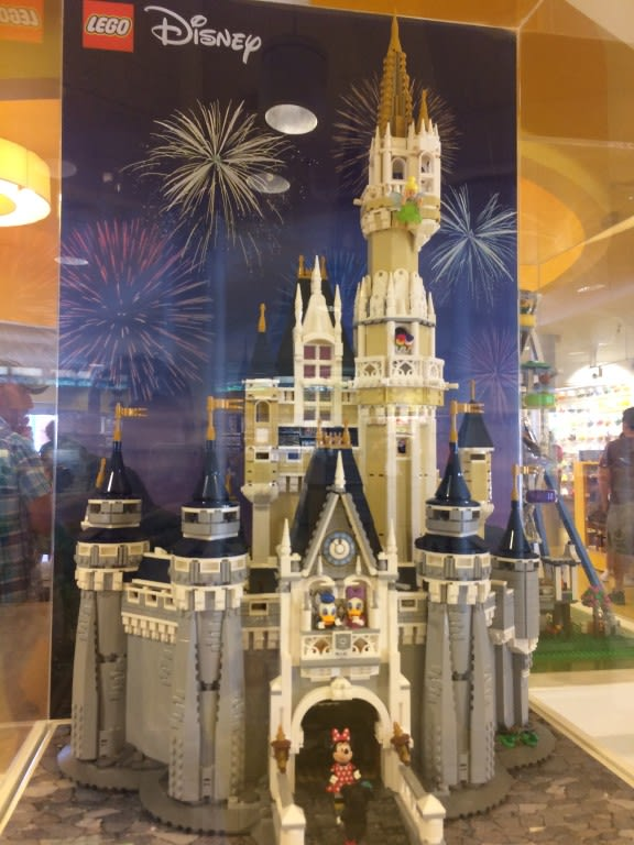 Disneys Cinderellas Castle, made out of Legos, is on display at the Lego Store at Disney Springs