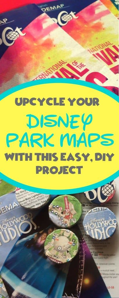 Upcycle your Disney Park Maps into cute magnets with this simple DIY Disney-inspired project. Other Disney World map ideas are also featured.