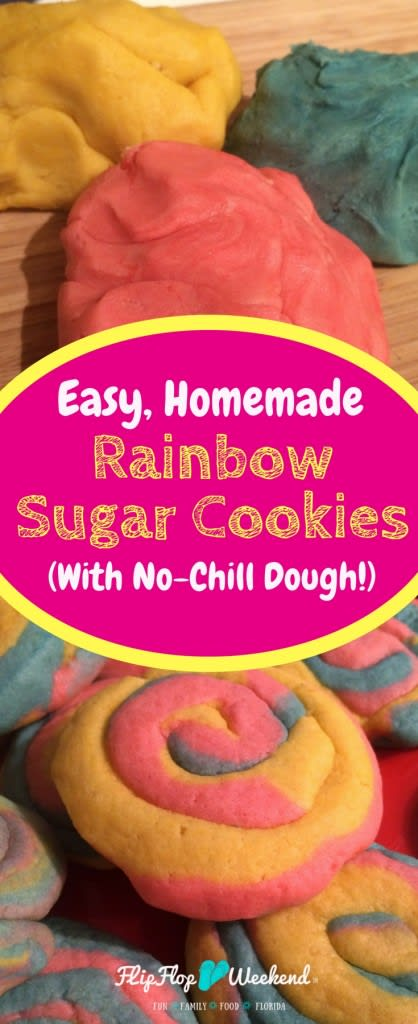 These rainbow sugar cookies use an easy, homemade sugar cookie dough recipe that you don't even need to chill! These cookies are soft and chewy, and would be perfect for birthdays, Easter, gift-giving or just-because!