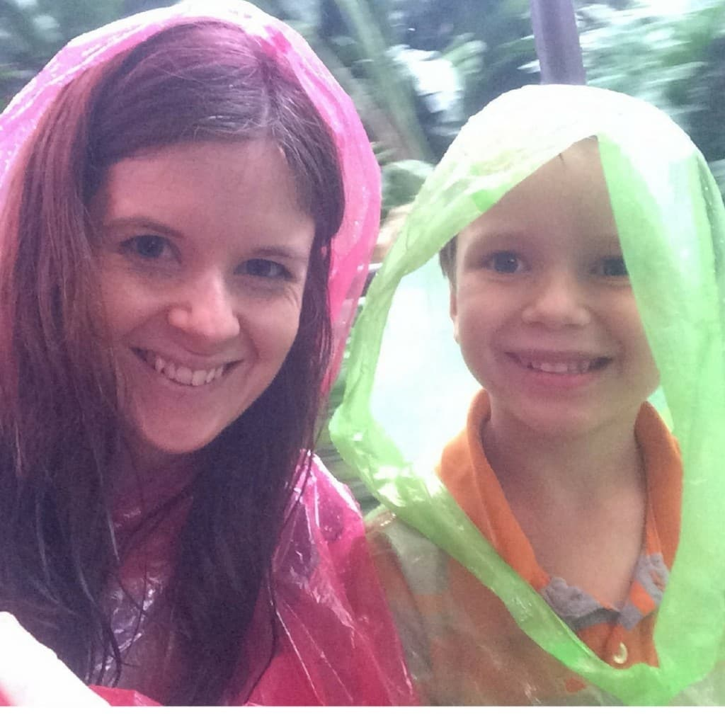 Josiah and I enjoying a damp ride on the Jungle Cruise when the Disney World weather just didn't want to cooperate