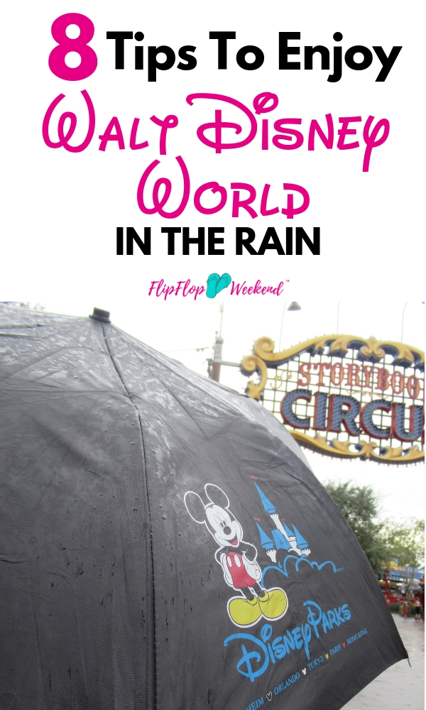 Worried about being at Disney World in the rain? Disney World weather can be unpredictable, but even if the weather at Disney is not cooperating, you can still have a great time. These tips will help you navigate the Disney Parks in the rain. #DisneyTips #DisneyTravel #FlipFlopWeekend
