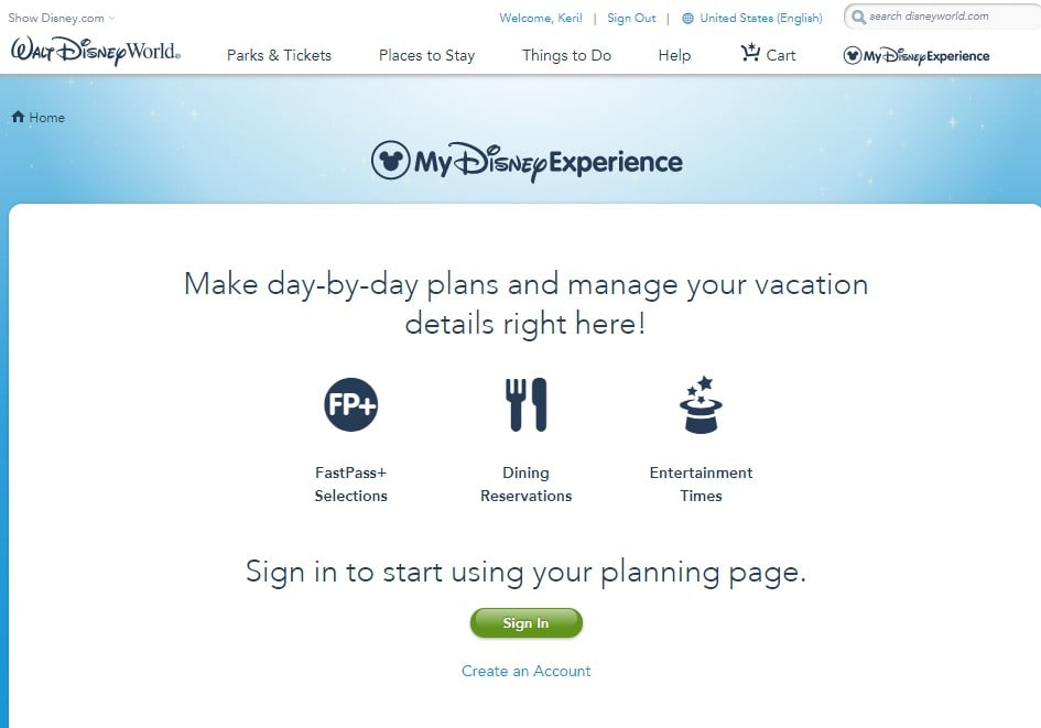 This post walks you through how to get set up on My Disney Experience, which is an absolute must-have account for your Disney Vacation planning needs
