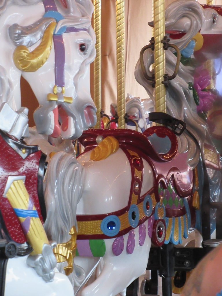 You can ride Cinderella's Horse on the Prince Charming Regal Carrousel. This is one of many fun little Disney World secrets at the Magic Kingdom.