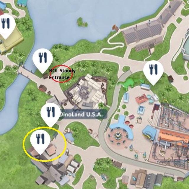 It is a quick walk from the Restaurantosaurus quick-service restaurant to the Rivers of Light Standby entrance at Walt Disney World's Animal Kingdom.