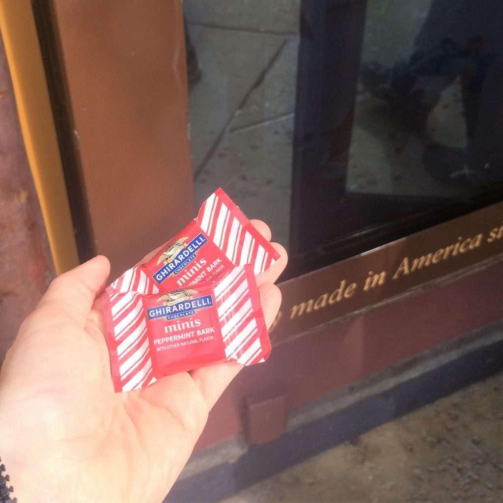 Ghirardelli chocolate sample at Disney Springs, Walt Disney World
