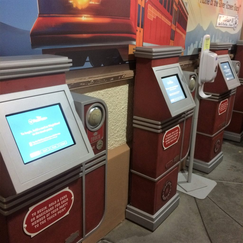 Walt Disney World guests can make FastPass selections either on the My Disney Experience App or at an in-park Disney kiosk, like this one at Hollywood Studios