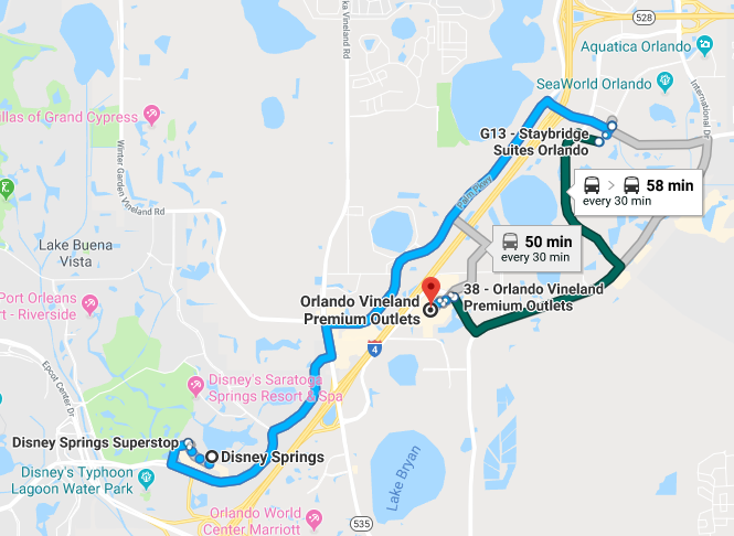 Taking a bus from Disney Springs to the Premium Outlets is time consuming, but cheap and easy nevertheless.
