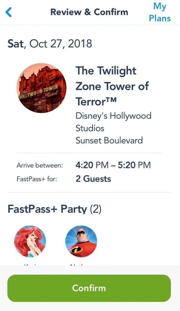 Confirm your Walt Disney World FastPass selection