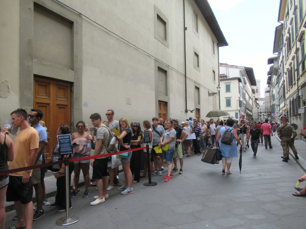 Pre-order your tickets to see the Statue of David, so that you can avoid waiting in a line like this one.