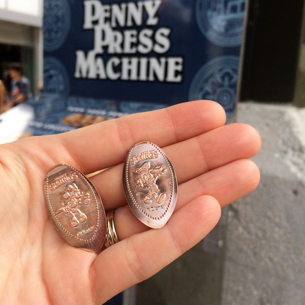 Pressed Pennies are a cheap Disney souvenir that takes up minimal luggage space.