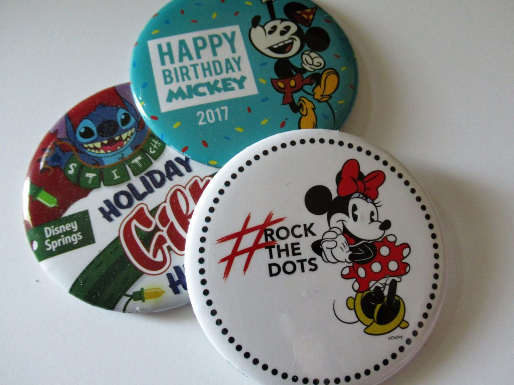 Disney buttons and passports make excellent Free Disney World Souvenirs.