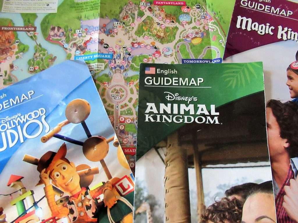 Disney World park maps make excellent Free Disney World Souvenirs.