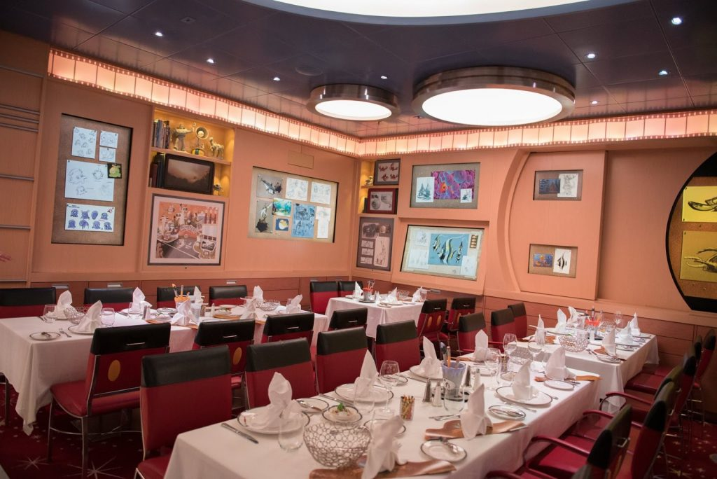 *My personal favorite restaurant aboard the Disney Cruise Line, Animator's Palate. The restaurant transforms from black and white to a world of color. And I hope you don't mind sea turtles, Crush from Finding Nemo loves to make an appearance!