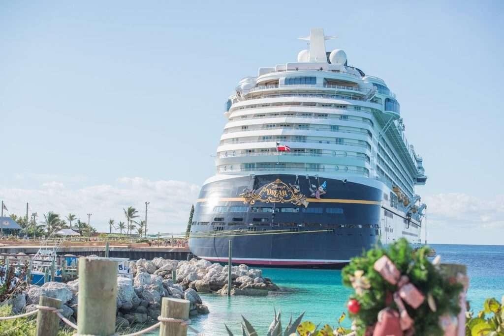 The Disney Dream docked at Castaway Cay, Disney's private island.