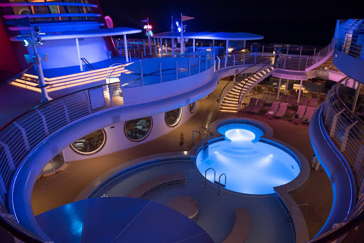 A small portion of the adults-only pool and deck area aboard the Disney Dream.