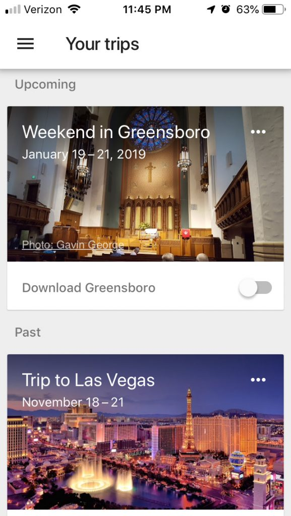 Google Trips can store all of your travel information, which it curates from your Gmail account.