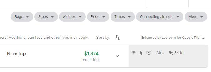 Google flights search filter