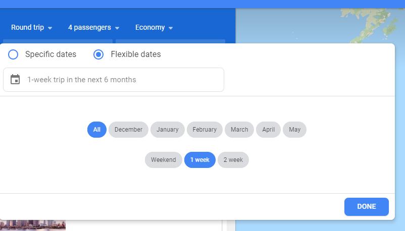 Google Flights Flexible Search