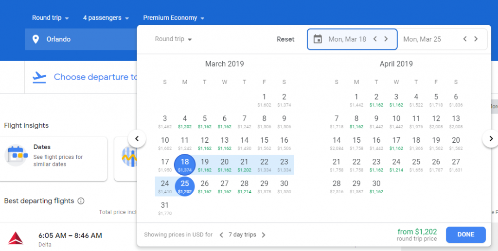 If you are a bit more flexible, open up the Google flights calendar to see a view of prices on alternative dates.