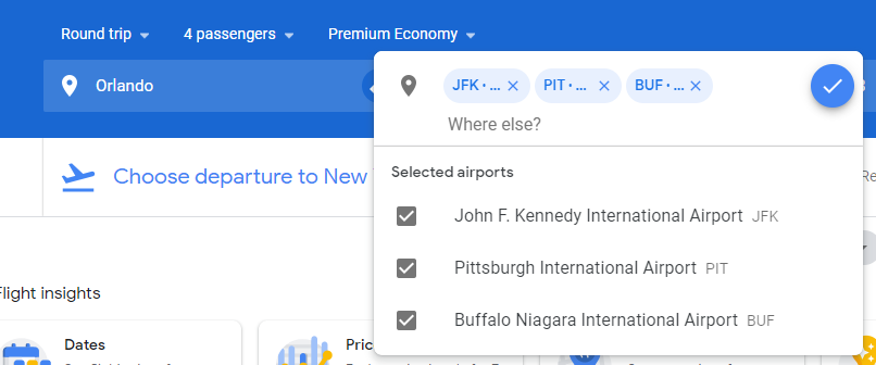 When doing a Google Flights search, you can enter up to seven airport codes in each search box