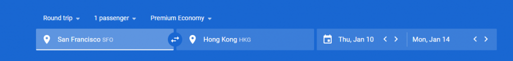 Start your Google Flights search on the home page by entering your departing and arrival destinations