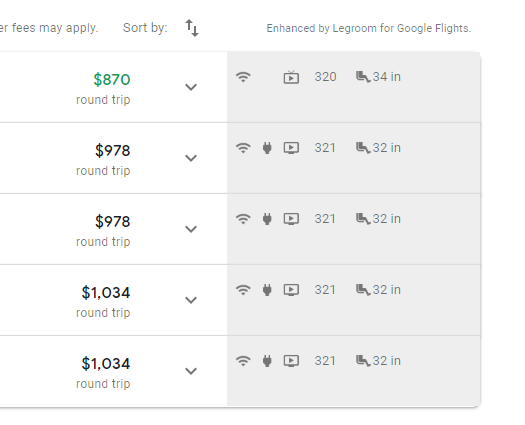 Google Flights Search Result with Legroom Chrome Extension