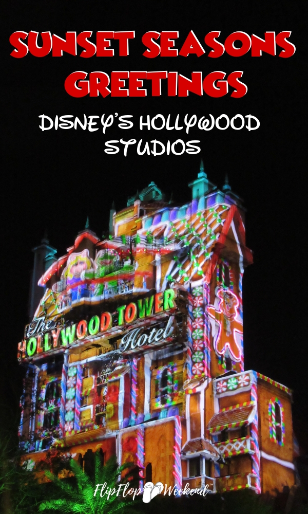 The Sunset Seasons Greetings laser light projection show is part of the Flurry of Fun at Walt Disney World's Hollywood Studios. The laser effects on the Hollywood Tower Hotel are impressive. Check out a video of the fun on #flipflopweekend