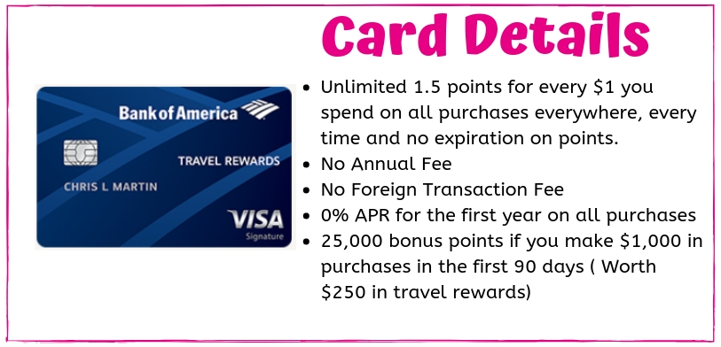 The Bank of America Travel Rewards Card Details