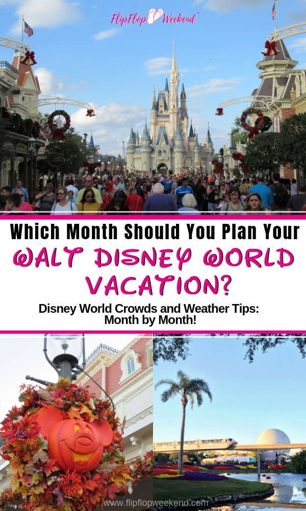 Wondering which month is best for your Disney World trip? This post breaks down Disney World Weather and Crowds by month to with your trip planning. #WaltDisneyWorld #DisneyTips